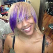 Tie-Dye Platinum Blonde -Pop of purple @sheritacherry