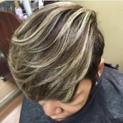 Chestnut Base Color with Platinum Highlights-Relaxed Hair @sheritacherry